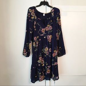 Old navy boho floral long sleeve dress size XL